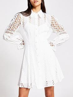 river-island-river-island-premium-open-lace-shirt-dress-white