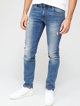 armani-exchange-j13-slim-fit-rip-amp-repair-jeans-blue