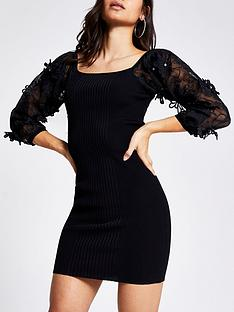 ri-petite-knitted-organza-sleeve-dress-black