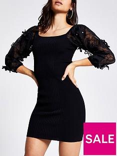 ri-petite-knitted-organza-sleeve-dress-black