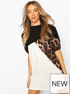 boohoo-leopard-colour-block-t-shirt-dress-black