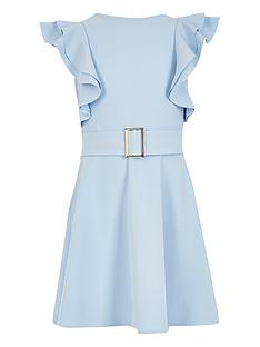 river-island-girls-frill-sleeve-belted-dress-blue