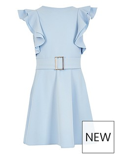 river-island-girls-frill-sleeve-belted-dress-blue