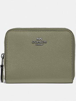 coach-crossgrain-leather-small-zip-around-purse-kahki