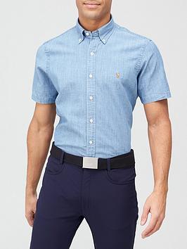 polo-ralph-lauren-golf-golf-coolmax-chambray-button-down-short-sleeve-shirt-blue