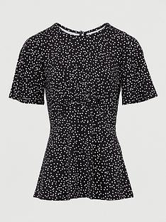 v-by-very-seam-detailnbspshort-sleeve-top-black-polka-dot