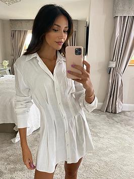 michelle-keegan-linen-pleat-front-shirt-dress-white