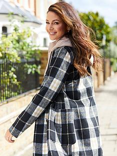 michelle-keegan-checked-longline-double-breasted-coat-check