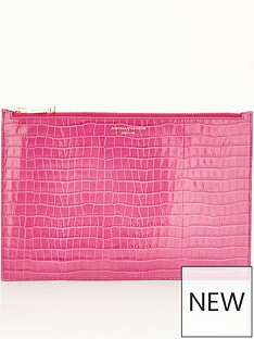 aspinal-of-london-patent-croc-large-essential-flat-pouch-hibiscus-pink