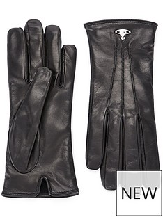 vivienne-westwood-orb-leather-gloves-black