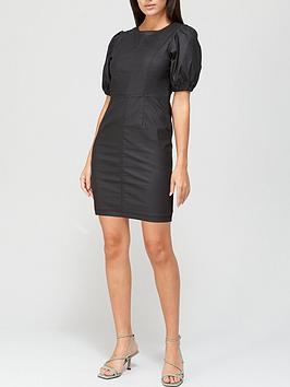 v-by-very-coated-denim-puff-sleeve-dress-black-coated