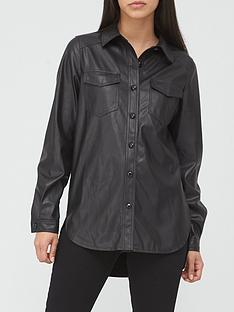 v-by-very-faux-leather-oversized-shirt