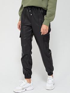 v-by-very-faux-leather-cargo-utility-joggers-black