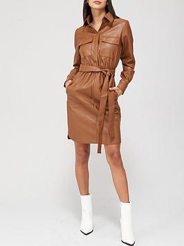 v-by-very-faux-leather-midi-tie-waist-shirt-dress-caramel