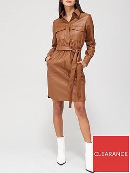 v-by-very-faux-leather-midi-tie-waist-shirt-dress-caramel