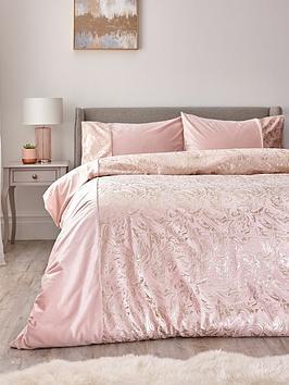 Alexis Marble Foil And Velvet Duvet Cover Set - Pink