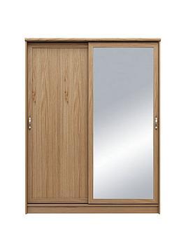 camberley-2-door-mirrored-sliding-wardrobe-oak-effect