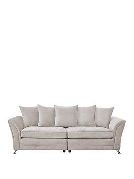 Dury Fabric 4 Seater Scatter Back Sofa - Natural