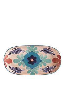 Product photograph showing Maxwell Williams Majolica Medium Peach Oblong Platter
