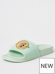 river-island-embossed-charm-front-slides-light-green