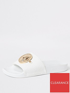 river-island-embossed-charm-front-slides-white
