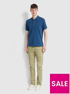 farah-melange-short-sleeve-polo-shirt-blue