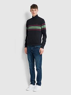 farah-half-zip-stripe-detail-sweat-navy