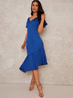 chi-chi-london-stretch-satin-asymmetric-hem-dress-cobalt