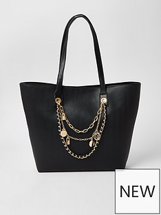 river-island-layered-chain-embellished-shopper-bag-black