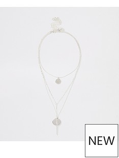 river-island-drop-layered-necklace-silver