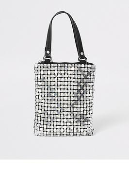 river-island-chainmail-diamante-grab-handle-bag-silver
