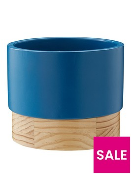 blue-planter-with-wood-base