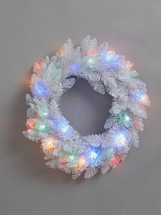 pre-lit-white-wreath-with-multicoloured-lights