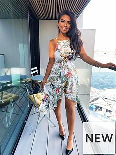 ax-paris-cream-printed-frill-dress