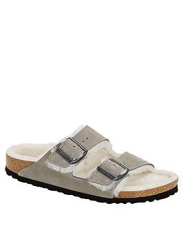 birkenstock-arizona-shearling-slipper-stone