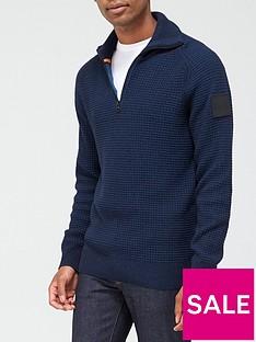 boss-akromos-14-zip-knitted-jumper-dark-blue