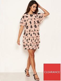 ax-paris-chiffon-tiered-dress-pink