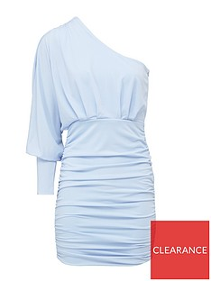 ax-paris-petite-petite-one-sleeve-ruched-dress-blue