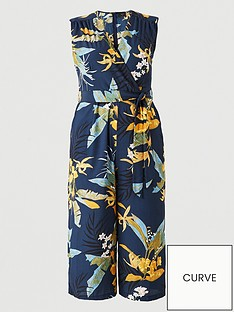 ax-paris-curve-sleeveless-printed-jumpsuit-navy