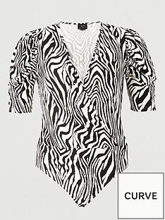 ax-paris-curve-printed-wrap-bodysuit-multi
