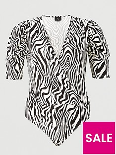 ax-paris-curve-printed-wrap-bodysuit-multi