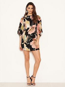 ax-paris-ax-paris-black-balloon-sleeve-printed-dress