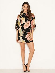 ax-paris-balloon-sleeve-printed-dress-black