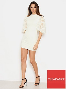 ax-paris-detail-puff-sleeve-dress-cream