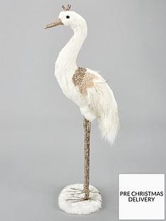 gisela-graham-fabric-feather-crane-christmas-decoration