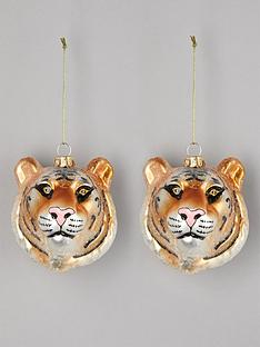 gisela-graham-set-of-2-glass-tiger-head-christmas-treenbspdecorations