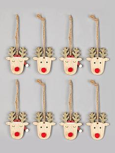 gisela-graham-set-of-8-reindeer-head-christmas-tree-decorations