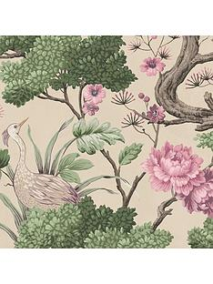 woodchip-magnolia-crane-bird-rose-pink-cream-wallpaper