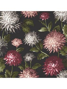 Product photograph showing Woodchip Magnolia October Bloom Charcoal Wallpaper