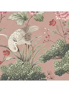 woodchip-magnolia-crane-bird-vintage-pink-wallpaper
